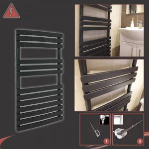 "500mm (w) x 800mm (h) ""Castell"" Black Towel Rail (Single Heat or Thermostatic Option)"