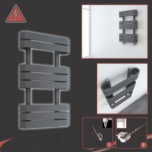 "500mm(w) x 850mm(h) Electric ""Barlo"" Anthracite Designer Towel Rail (Single Heat or Thermostatic Option)"