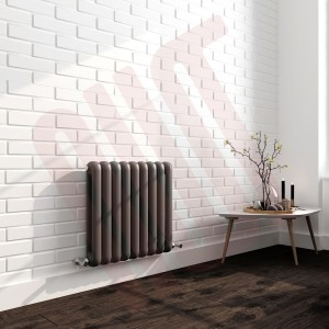 556mm (w) x 600mm (h) Elias Anthracite Vertical Column Radiator (9 Sections)