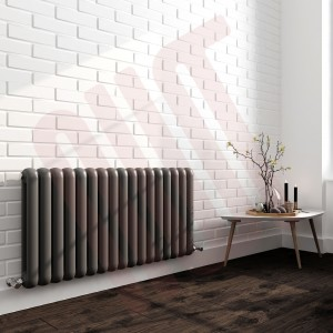 1032mm (w) x 600mm (h) Elias Anthracite Horizontal Column Radiator (17 Sections)