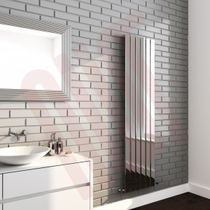 450mm (w) x 1800mm (h) Luna Designer Chrome Vertical Flat Panel Radiator