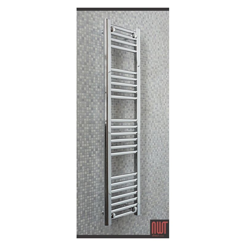 Heated Towel Rails Electric Chrome: 300mm (w) X 1200mm (h) Straight Chrome Electric Towel Rails