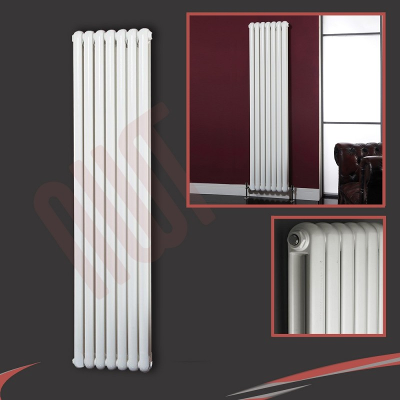 1800mm (h) x 318mm (w) Elias White Vertical Radiator
