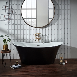 """Holborn """"Bow Graphite"""" 1800mm(L) x 800mm(W) Traditional Freestanding Twin Skinned Double-Ended Bath"""