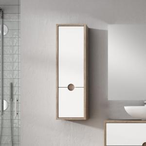 """""""Kompass"""" 300mm(w) x 960mm(h) x 250mm(d) Oak & White Tall Cabinet Wall Hung Unit"""