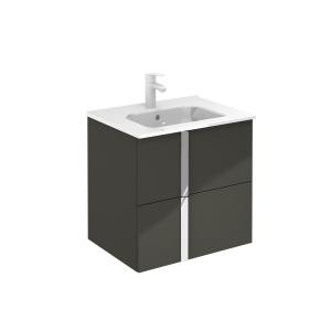 Onix 610mm Gloss Grey 2 Drawer Wall Hung Vanity Unit