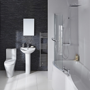 """""""Compact P-Shaped"""" Luxury Shower Bath - 1500mm to 1700mm (L) x 750mm (W) Left or Right Hand Option (Includes Panel & Screen)"""