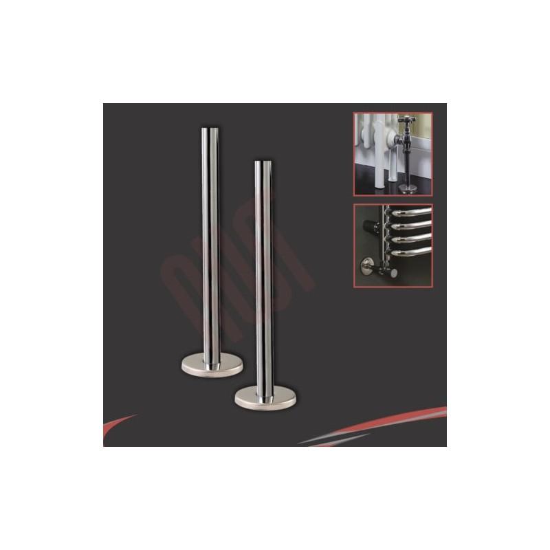 Chrome Pipe & Collars (Pair) for Radiators Towel Rails Valves Accessories