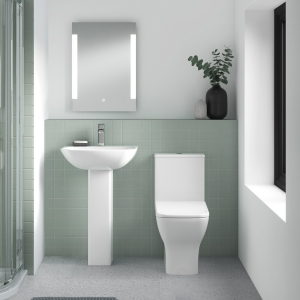 """""""Ava"""" 370mm(w) x 790mm(h) Square Rimless Compact Toilet & Cistern (Includes Soft Close Toilet Seat)"""