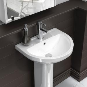 """Harmony"" 500mm(w) Basin & Semi Pedestal (1 Tap Hole)"