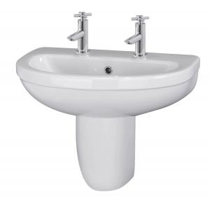 Ivo 550mm Basin 2 Tap Holes & Semi Pedestal