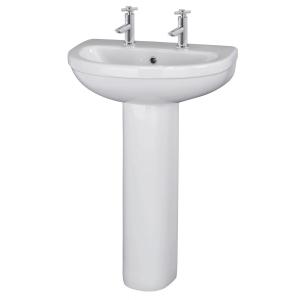 Ivo 555mm 2 Tap Holes Basin & Pedestal