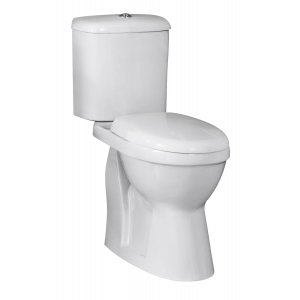 DOC M Comfort Height Toilet Pan with Cistern and Toilet Seat