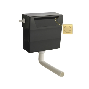 Universal Access Cistern with Brushed Brass Square Flush Plate