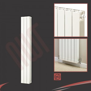 "268mm (w) x 1446mm (h) ""Trojan"" White Vertical Aluminium Radiator (3 Extrusions)"