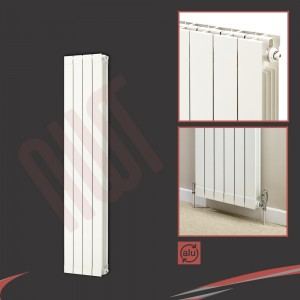 "348mm (w) x 1446mm (h) ""Trojan"" White Vertical Aluminium Radiator (4 Extrusions)"