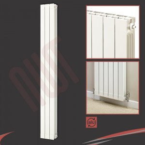 "268mm (w) x 1846mm (h) ""Trojan"" White Vertical Aluminium Radiator (3 Extrusions)"