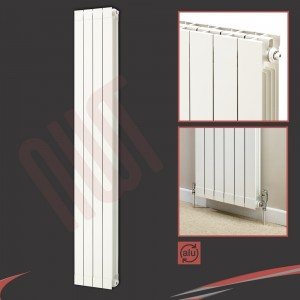 "348mm (w) x 1846mm (h) ""Trojan"" White Vertical Aluminium Radiator (4 Extrusions)"