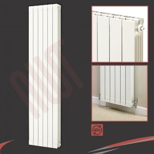 "508mm (w) x 1846mm (h) ""Trojan"" White Vertical Aluminium Radiator (6 Extrusions)"