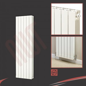 "508mm (w) x 1446mm (h) ""Trojan"" White Vertical Aluminium Radiator (6 Extrusions)"
