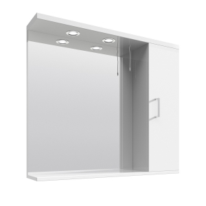 White 850mm Mirror & Cabinet With 2 Lights
