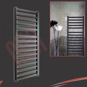 "500mm(w) x 1165mm(h) ""Denbigh"" Black Towel Rail"