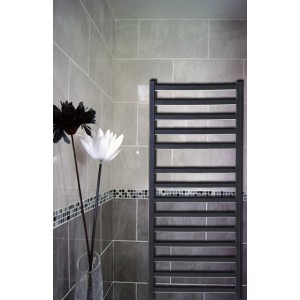 500mm x 1165mm Single Heat Denbigh Black Towel Rail