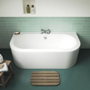 """""""Shingle"""" Curved Double Ended Back To Wall 1700mm(L) x 750mm(W) Bath (Includes Panel)"""