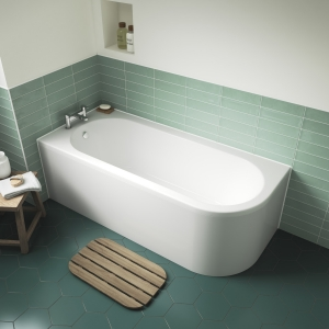 """Left Handed """"Crescent"""" Luxury Corner Curved Bath 1700mm(L) x 725mm(W) - Includes Front Panel"""