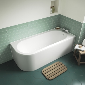 """Right Handed """"Crescent"""" Luxury Corner Curved Bath 1700mm(L) x 725mm(W) - Includes Front Panel"""