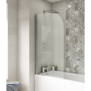 Polished Chrome Round Top Bath Screen 790mm(w) x 1435mm(h) - 6mm Glass