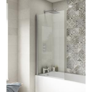 Polished Chrome Square Top Bath Screen 790mm(w) x 1435mm(h) - 6mm Glass