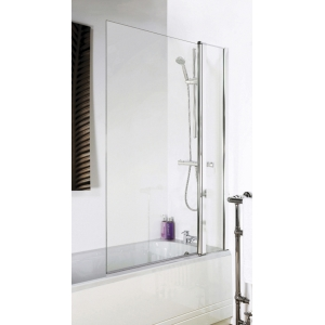 Polished Chrome Square Top Bath Screen & Fixed Panel 1005mm(w) x 1435mm - 6mm Glass