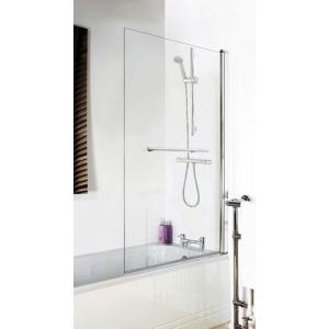 Polished Chrome Square Top Bath Screen & Rail 790mm(w) x 1435mm(h) - 6mm Glass