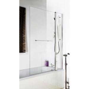 Polished Chrome Square Top Bath Screen, Fixed Panel & Rail 1005mm(w) x 1435mm - 6mm Glass