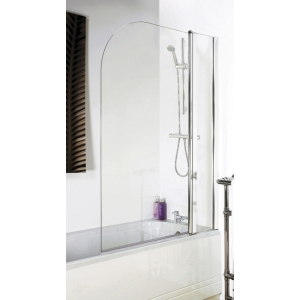Polished Chrome Round Top Bath Screen & Fixed Panel 1005mm(w) x 1435mm(h) - 6mm Glass