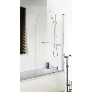 Polished Chrome Round Top Bath Screen & Rail 790mm(w) x 1435mm(h) - 6mm Glass