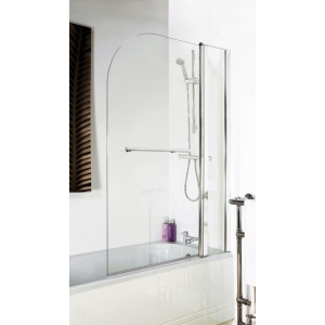 Polished Chrome Round Top Bath Screen, Fixed Panel & Rail 1005mm(w) x 1435mm(h) - 6mm Glass