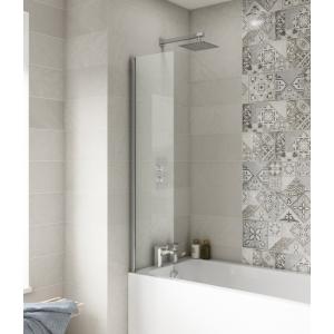 Polished Chrome Fixed Bath Screen 350mm(w) x 1400mm(h) - 6mm Glass