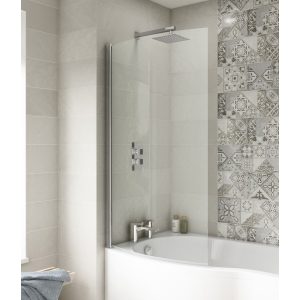 Polished Chrome Curved B-Bath Shape Screen 870mm(w) x 1435mm(h) - 6mm Glass