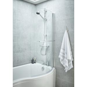 Polished Chrome Curved P-Bath Shape Screen & Rail 720mm(w) x 1435mm(h) - 6mm Glass