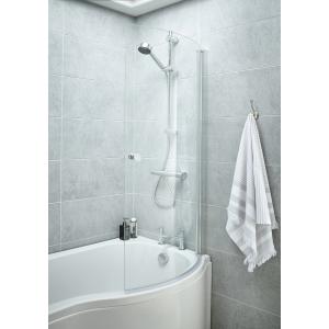 Polished Chrome Curved P-Bath Shape Screen & Knob 720mm(w) x 1435mm(h) - 6mm Glass