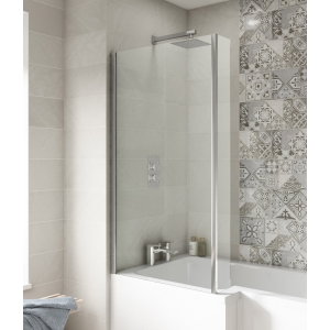"Polished Chrome ""Quattro"" L-Shape Bath Screen 805mm(w) x 1435mm(h) - 6mm Glass"