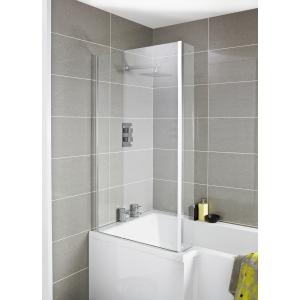 "Polished Chrome ""Quattro"" L-Shape Double Hinged Bath Screen 965mm(w) x 1435mm(h) - 6mm Glass"