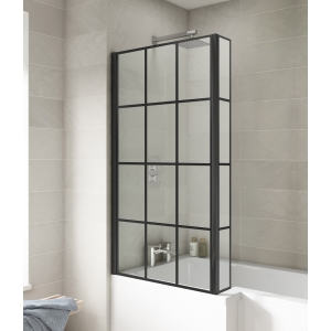 Pacific Bath Screens Square Black Framed Bath Screen With Fixed Return - Insitu