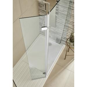 300mm(w) Hinged Return Wetroom 8mm Shower Screen (90 Degree Chrome Frame, Toughened Glass)
