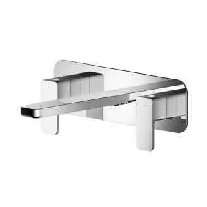 Windon Wall Mounted 3 Tap Hole Basin Mixer With Wall Plate