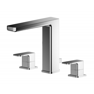 Windon Deck Mounted 3 Tap Hole Basin Mixer With Pop Up Waste