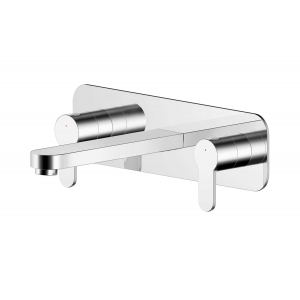 Arvan Wall Mounted 3 Tap Hole Basin Mixer With Wall Plate