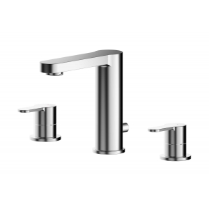 Arvan Deck Mounted 3 Tap Hole Basin Mixer With Pop Up Waste
